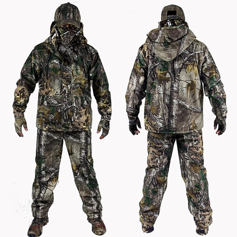 Ropa de camuflaje biónica de invierno para hombre, ropa de caza, trajes de caza de invierno con forro polar, traje Ghillie