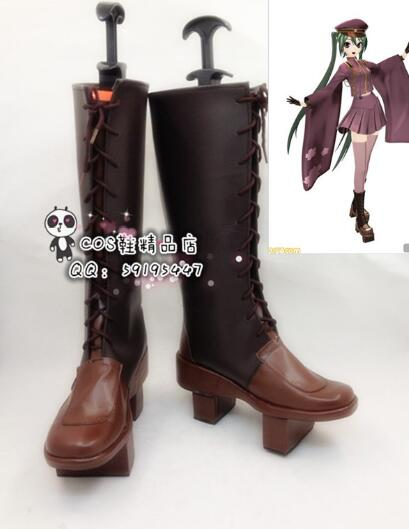 Anime Vocaloid Hatsune Miku Senbonzakura Halloween niñas Cosplay zapatos, botas largas