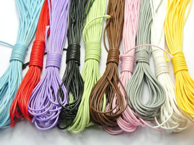 100 Merters hilo de cordón encerado coreano de Color mixto 1mm para collar 10 colores