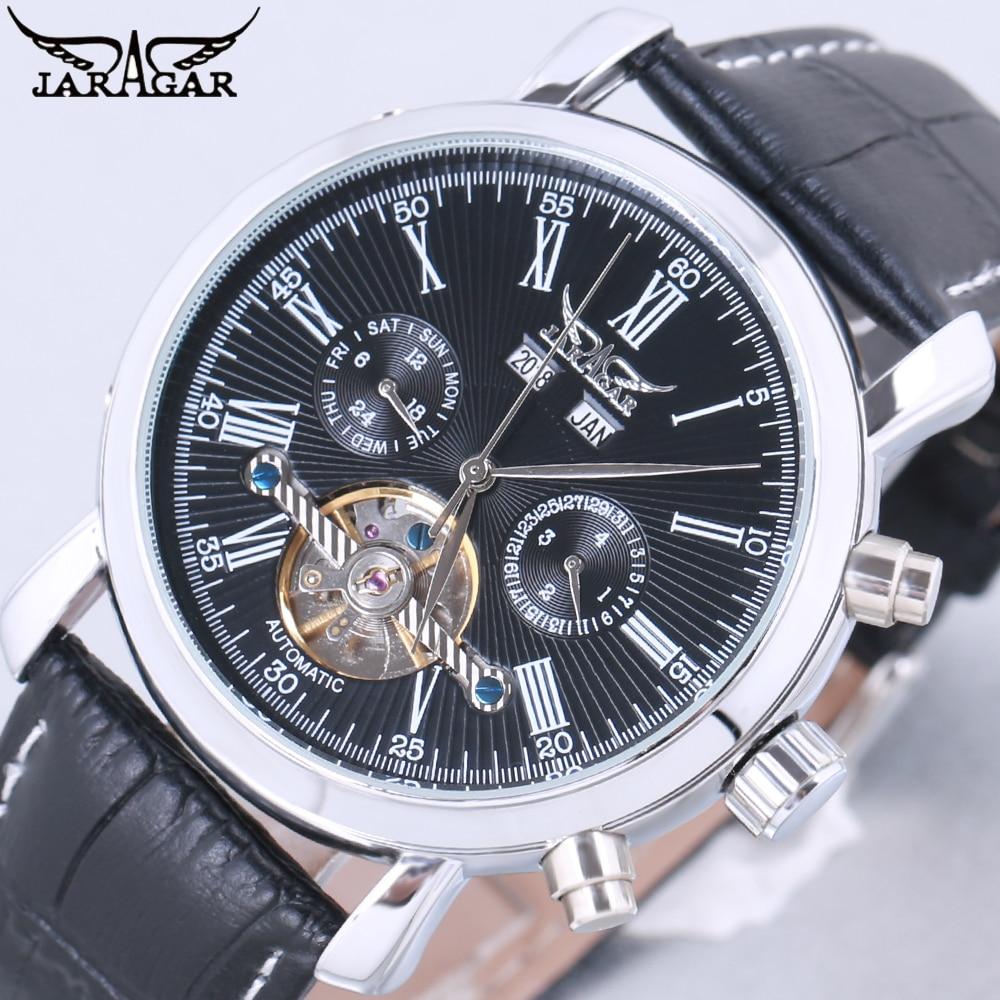 JARAGAR Luxury Brand Fashion Self-wind Mechanical Watches Mens Day Date Business Sport Wrist Watch 2018 New Leather Band Clock