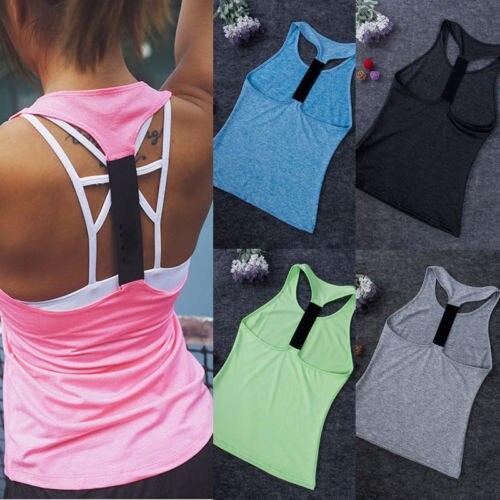 Camiseta deportiva de Color puro para mujer, Camiseta deportiva sin mangas, sin espalda, atlética, camiseta para gimnasio, secado rápido