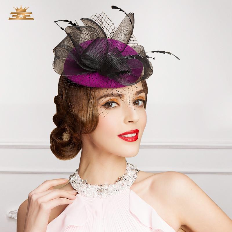 Sombrero de lana elegante para mujeres europeas, boina Vintage con flor sólida, tocado para fiesta de Sinamay, sombrero de iglesia de boda, B-7542