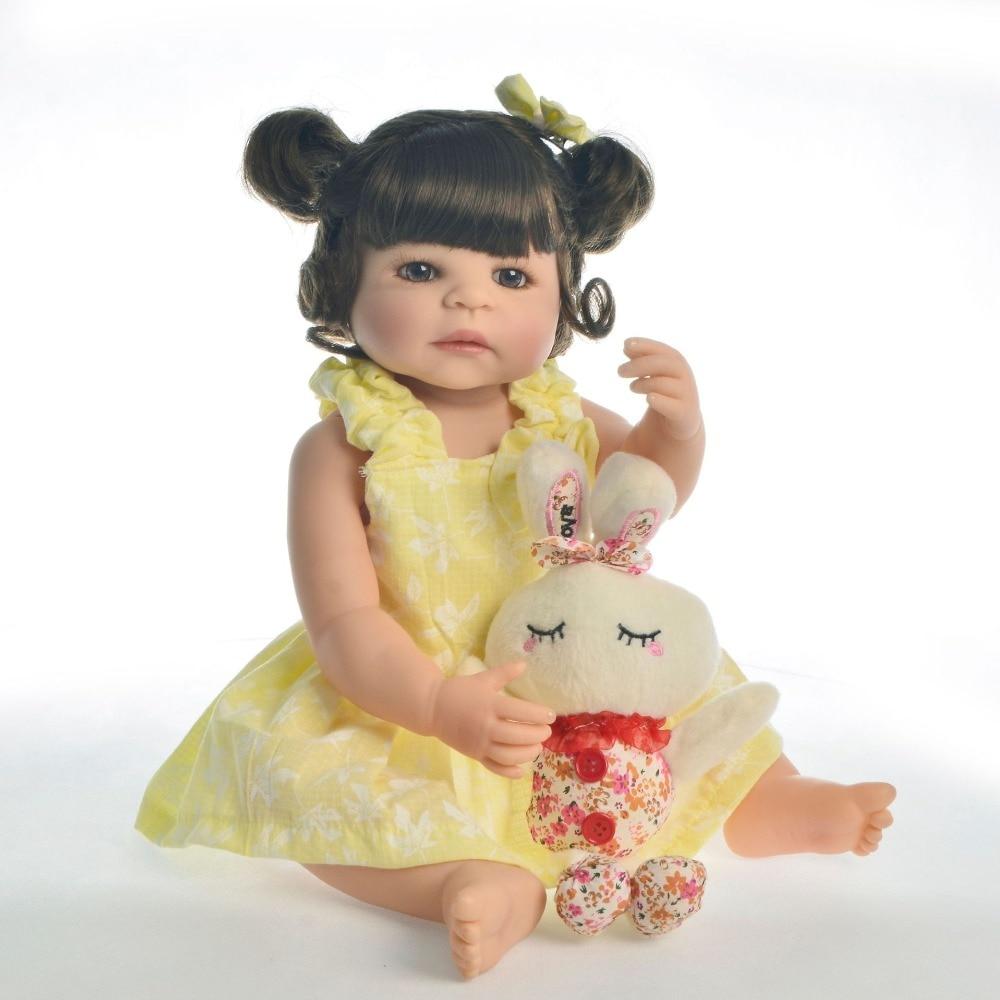 55cm Full Silicone Body Reborn Baby Doll Toys collectible Vinyl Newborn Princess Babies Bebe Bathe Accompanying Birthday Gift