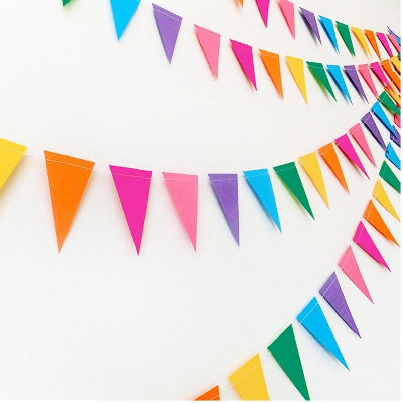 4 metros Multicolor bandera banderas de papel guirnalda de banderines para boda Baby Shower cumpleaños fiesta jardín tienda decoraciones