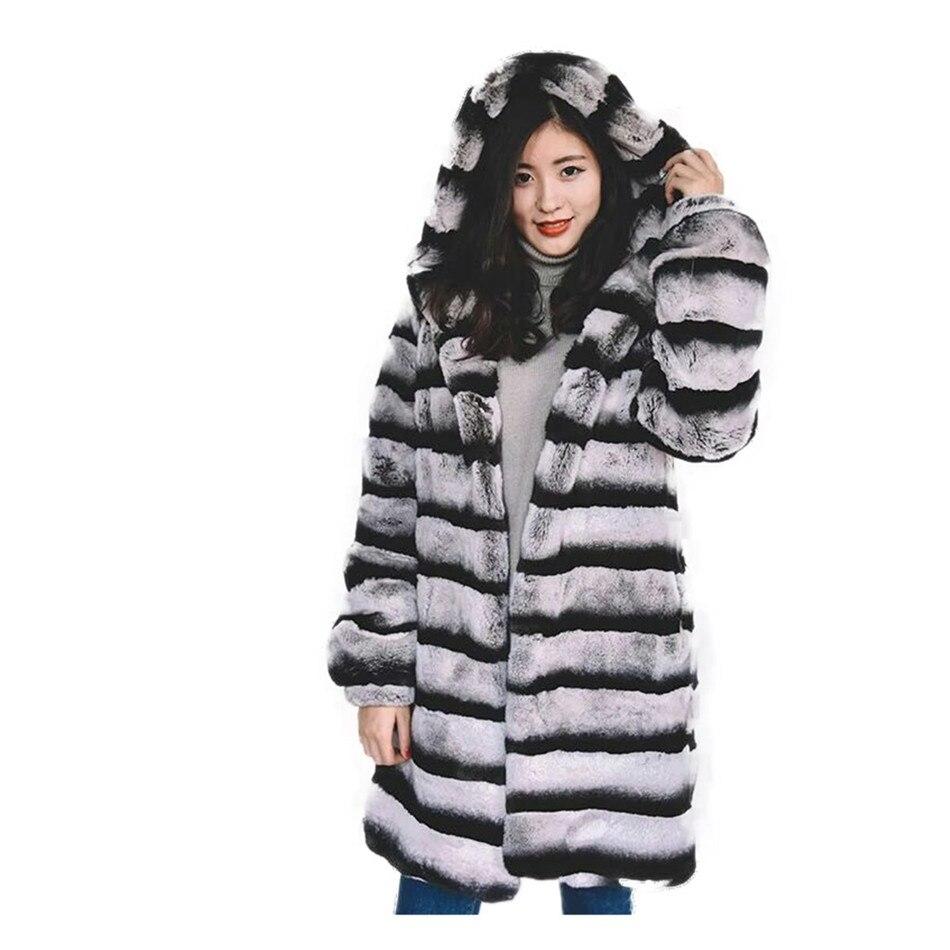 90cm Real con capucha Chinchilla piel abrigo de piel de hombre abrigo de piel Chinchilla/Lynx de piel/Chinchilla Rex Totoro Chinchilla gris Plus tamaño personalizado
