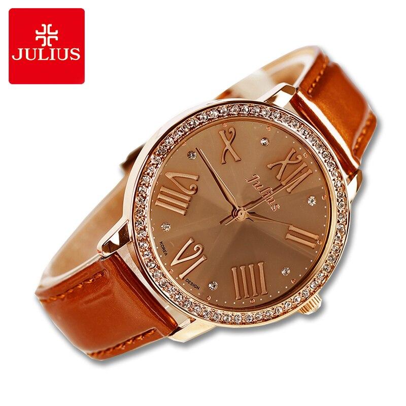 Diamond Cut Julius Lady Womens Watch Japan Quartz Large Hours Fashion Clock Bracelet Leather Girl Christmas Gift  JA-775
