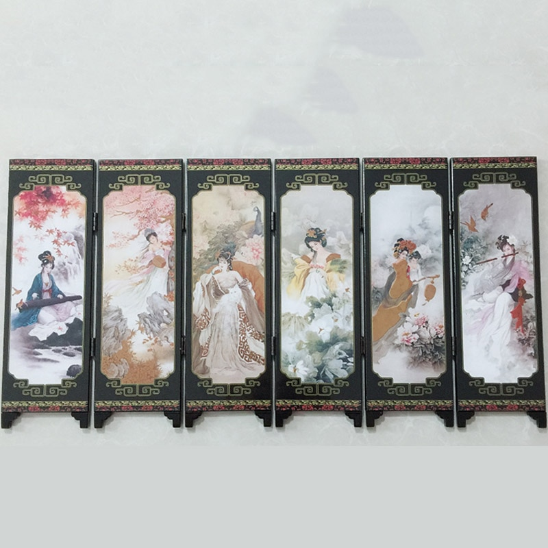 Oriental Chino bellezas 6-Panel divisor de salón * 48*24*0,6 cm de privacidad de pantalla