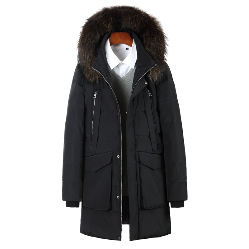 New Thick Down Jacket Men 90% White Duck Winter Outwear Coat Fur Collar Hooded Down Parka Thicken Coats Jackets For -40 Degrees