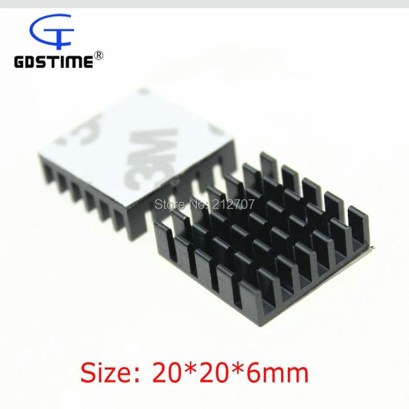 100 أجزاء/وحدة Gdstime 20x20x6 مللي متر الأسود غرفة التبريد IC CPU الألومنيوم المبرد خافضات