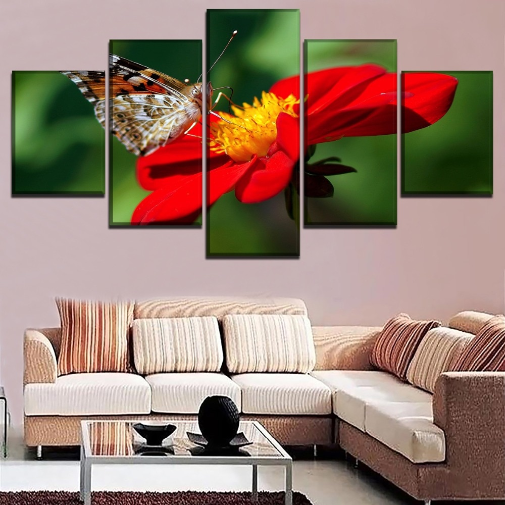 Lienzo de impresión HD pintura de 5 piezas Dalia y Animal póster de mariposas imagen de flor roja brillante arte de pared decorativo moderno para el hogar