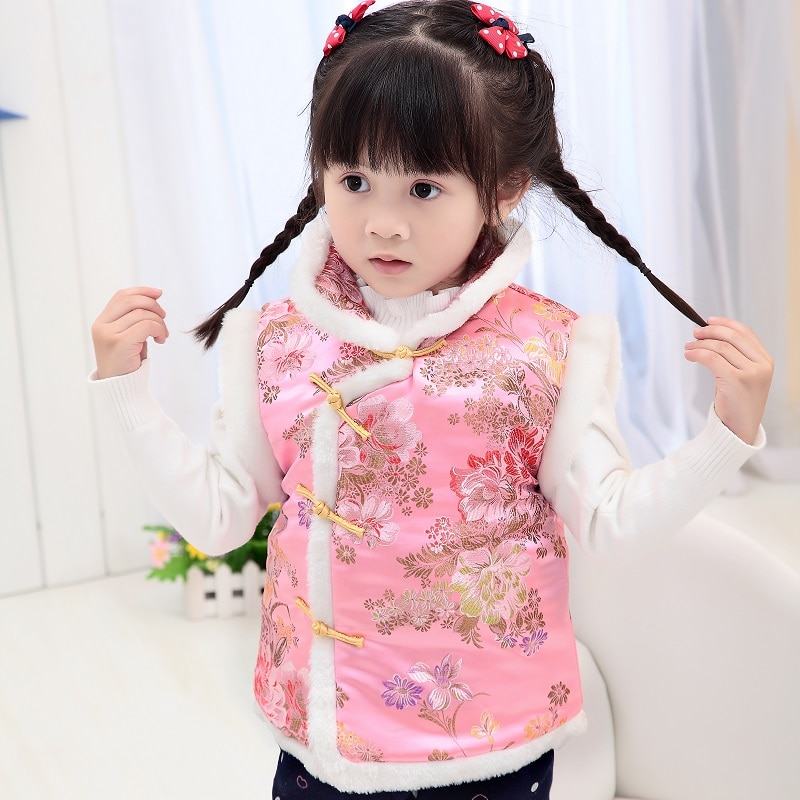 2020 High Quality Girls P Vests Children Cotton Warm Vest Baby Girls Sweet Floral Waistcoat Kids Vest Outerwear 2-10 Years