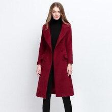 Mode angleterre style femmes automne et hiver manteau en cachemire dans un long manteau de laine double face manteau de laine mince de haute qualité