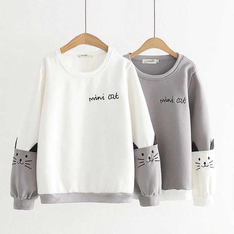 Sudadera con capucha de lana de Otoño/Invierno para mujer, Linda sudadera con letras de manga larga de gato de Neko Atsume, jerséis para estudiantes, sudaderas con capucha