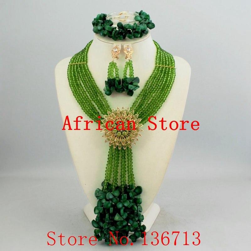 Conjuntos de Jóias de noiva Casamento Nigeriano Beads Africanos Set Jóias Teal Verde Mulheres Novo Conjunto De Colar de Cristal Frete Grátis HD349-5