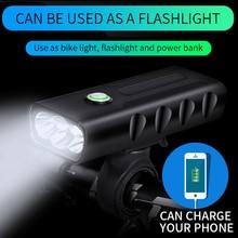 Front Bike Headlight LED Cycling Light USB Rechargeable Battery Bicycle Light + Handlebar Mount +USB line +Power Bank farol bike