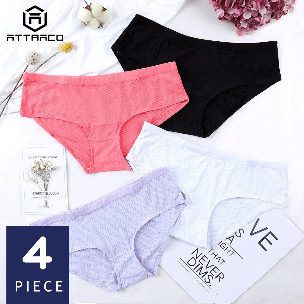 Attro feminino hipster calcinha underwear 4 pacotes de algodão macio estiramento aconchegante algodão virilha cueca calcinha respirável venda quente bonito