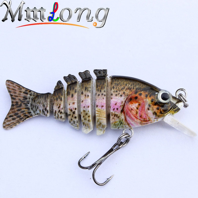 MMlong Artificial Fishing Bait 8# Hook 6 Jointed Sections Lifelike Slow Sink Fishing Tackle Swimbait Crankbait Hard Lure MML13-M
