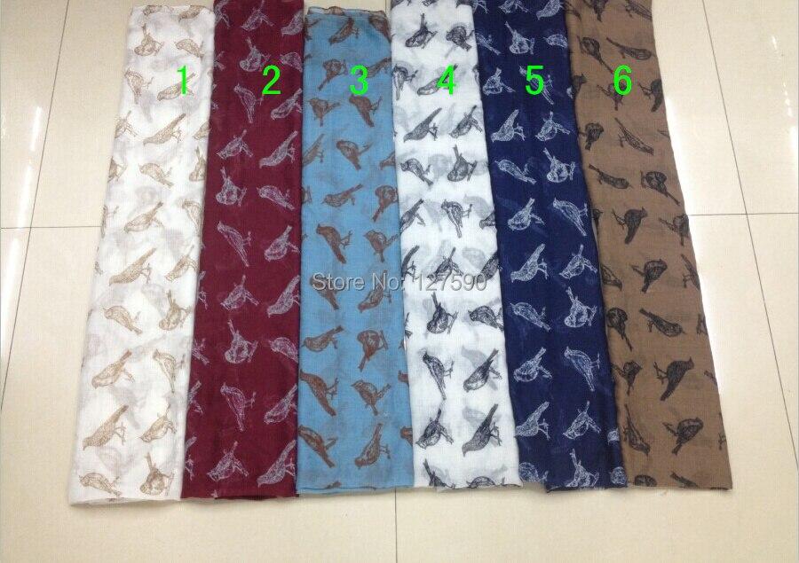 2014 moda mujer bufandas con estampado de pájaros estampado Animal chal Wrap mujeres Hijab bufanda envío gratis