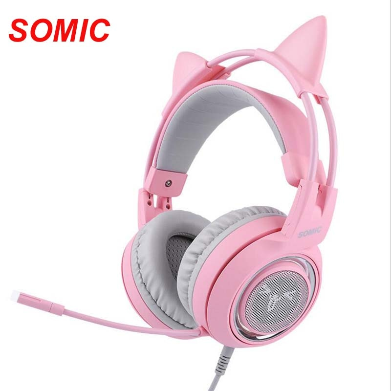 Virtual com Microfone Cancelamento de Ruído Fones de Ouvido para pc para Ps4 Somic Rosa Wired Gaming Headphone 7.1 Gato Enc G951 Usb