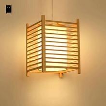 Suspension en bois Tatami Fixutre rustique coréen asiatique Style japonais lampe suspendue intérieur maison Luminaria salle à manger Restaurant