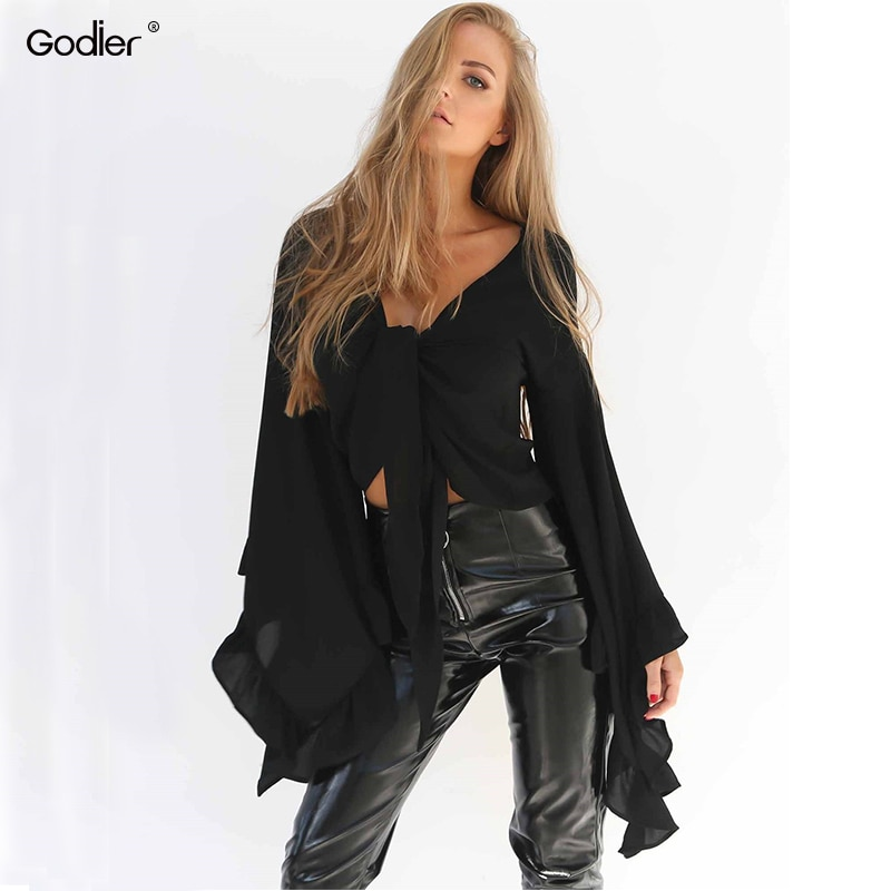 flare sleeve bow tie back blouse Godier 2020 New sexy women Summer big flare sleeve blouse with bow tie front top lolita short Crop chiffon Shirt Blusa Tops