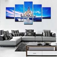fashion wall pictures 5 pieces for living room cuadros nordic castle decoration new wall art canvas painting picture poster