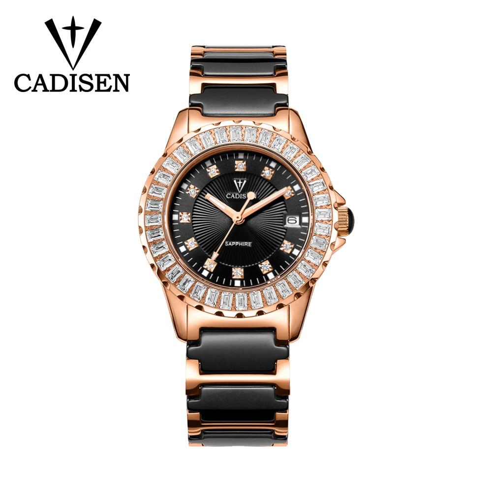 CADISEN-ساعة نسائية من الكريستال والياقوت ، ساعة يد سيراميك فاخرة ، أوتوماتيكية ، ميكانيكية ، اليابان ، 3ATM