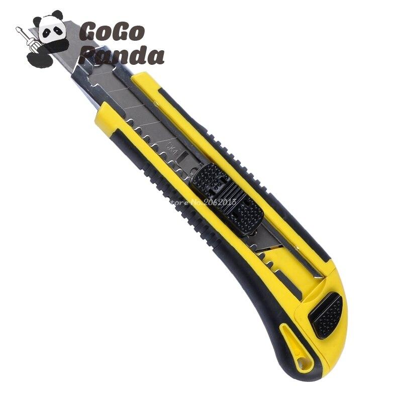 Envío Gratis Cuchillo con hoja deslizante automática caja de papel cortador Total 3 cuchillas DK-2039