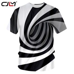 CJLM Black And White Strips Tshirts Men Cool Print Paisley 3D T-shirts Man Hip Hop O Neck Pullovers Tee Quick Dry Fitness Shirts