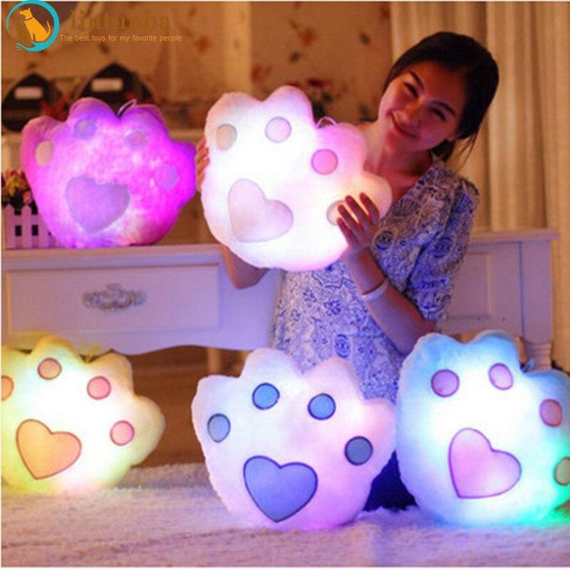 Colorful Glowing Pillows Led Light Luminous Bear Paw Pillow Soft Kawaii Plush light Pillow Cushion Stuffed Doll Kids Toys Gifts