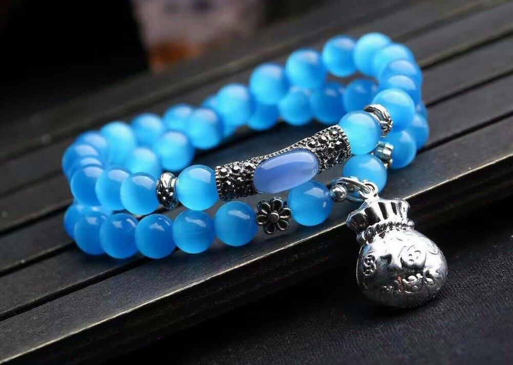 Wholesale Blue Natural Cat Eye Stone Bracelets Tibetan Silver Money Bag Pendant For Women Girl Fresh Summer Crystal Jewelry