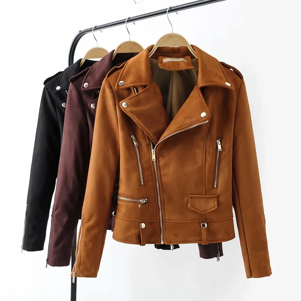 Otoño mujer chaquetas de cuero de gamuza moda femenina delgada chaqueta de motorista corto chic cool señoras bomba negro abrigos ropa de abrigo