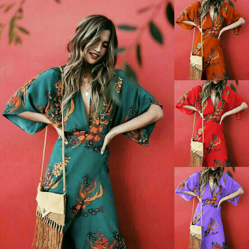 2019 Hot Women Boho Floral V-neck Long Maxi Cocktail Party Beach Sundress