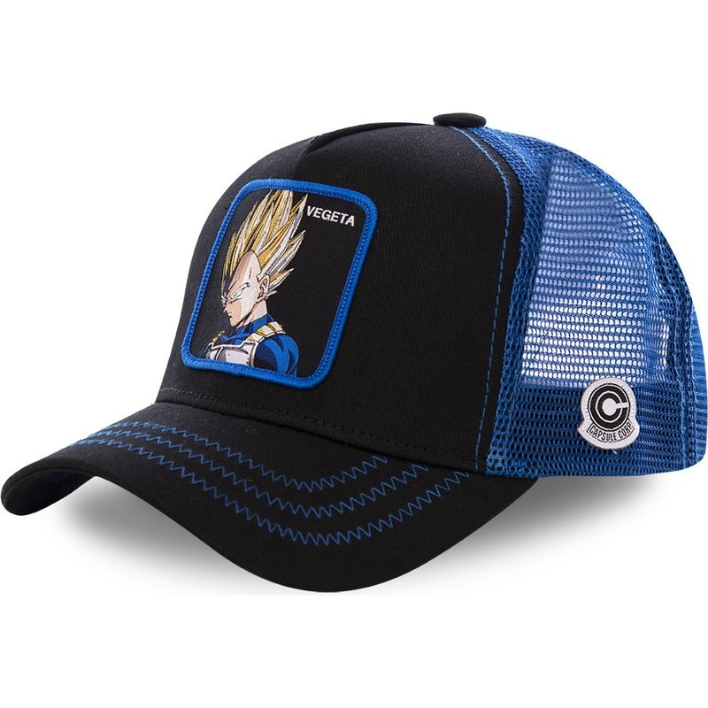 New Mesh Hat Vegeta Baseball Cap High Quality Curved Brim Black & Blue Snapback Cap Gorras Casquette