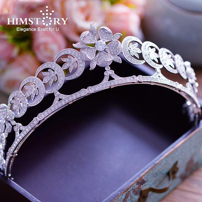 Himstory-تاج شعر فاخر من الزركونيا AAA ، تاج ، زهرة بيضاء ، تاج الزفاف ، إكسسوارات الحفلات الموسيقية ، مجوهرات الشعر