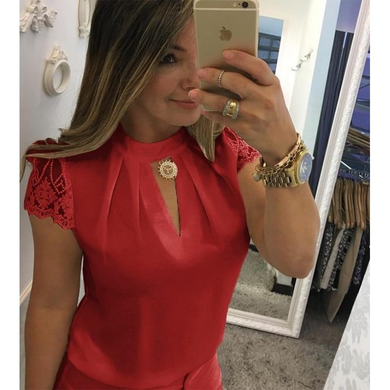 Blusas sexis para mujer, blusas de verano informales de chifón caladas de manga corta, combinación de telas de encaje, blusas de moda de mujer de talla grande 5XL