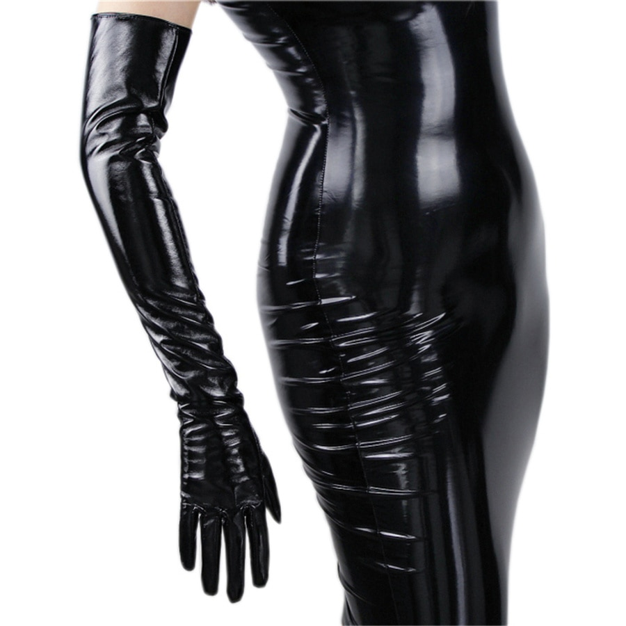 Modische frauen Lange Leder Handschuhe 70 cm Lange Über Ellenbogen Simulation Leder PU Seiko Keine Futter Schwarz TB16