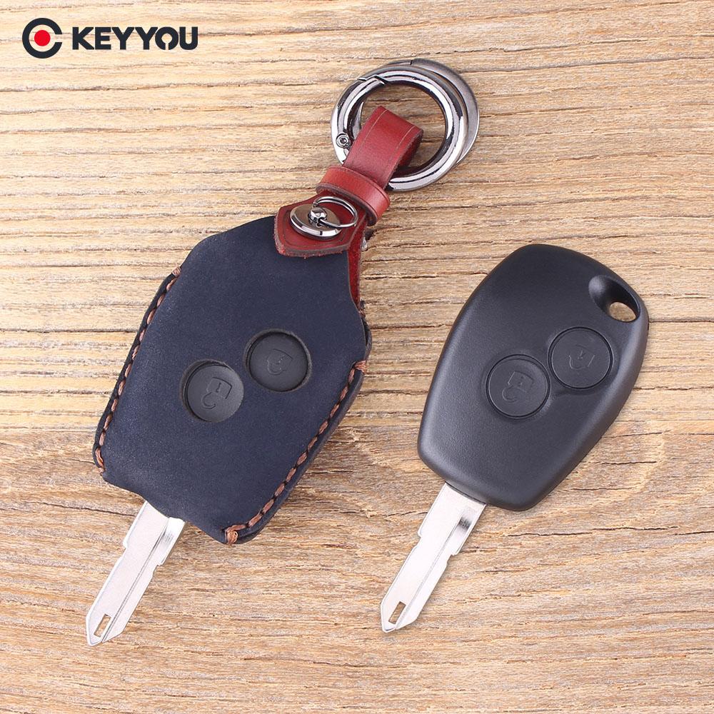 KEYYOU Leather Car Key Shell Remote Key Fob 2 Button For Renault 206 Kangoo Clio Logan Sandero Car Key Case