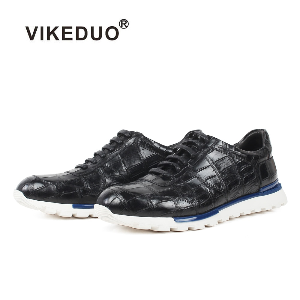 Кроссовки VIKEDUO из 100% натуральной крокодиловой кожи, черная клетчатая обувь ручной работы на шнуровке, Повседневная офисная Спортивная кожа...