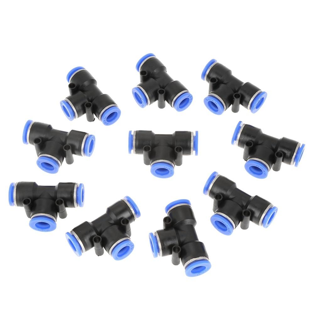 Conector neumático de unión de 10 uds, conector neumático de 10mm 3/8 T, conector neumático de línea de aire, accesorios rápidos, junta de tubo
