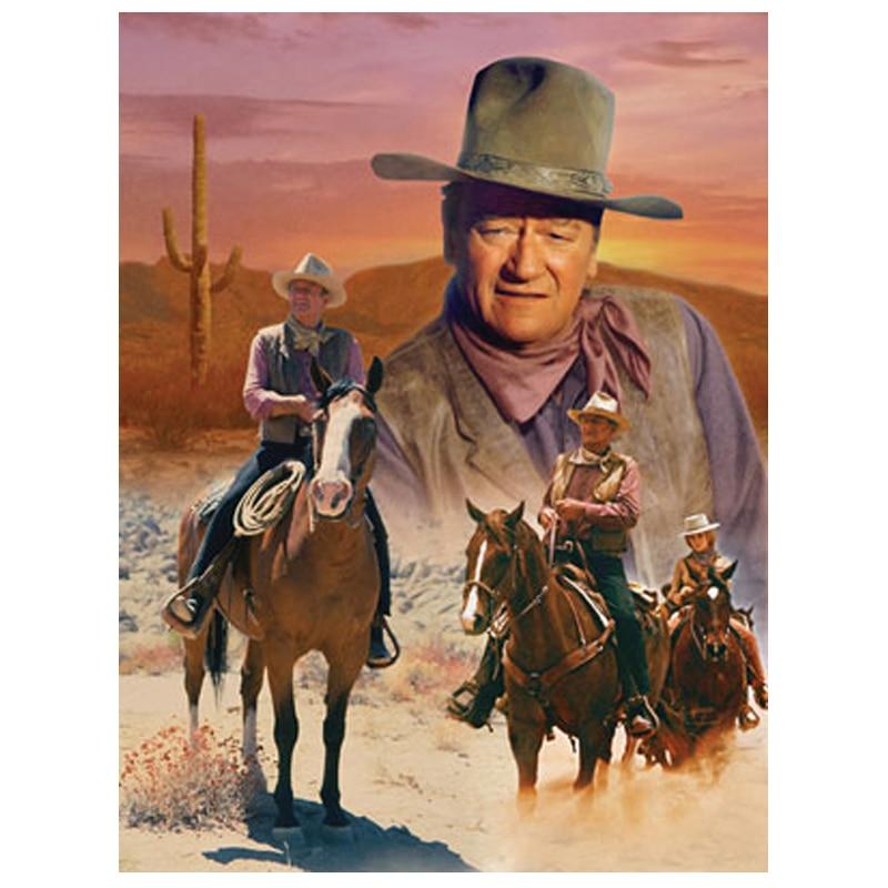 DIY diamante pintura Cruz Stitch John Wayne caballos cuadrado completo diamante bordado cristal mosaico pintura pared pegatina Z158