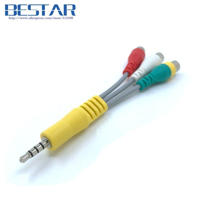 3.5mm Aux Mini AV Male to 3RCA Female M/F Audio Video Cable 10cm Stereo Adapter Cord for TV UN46C9000ZV UN55C6400RH ETC