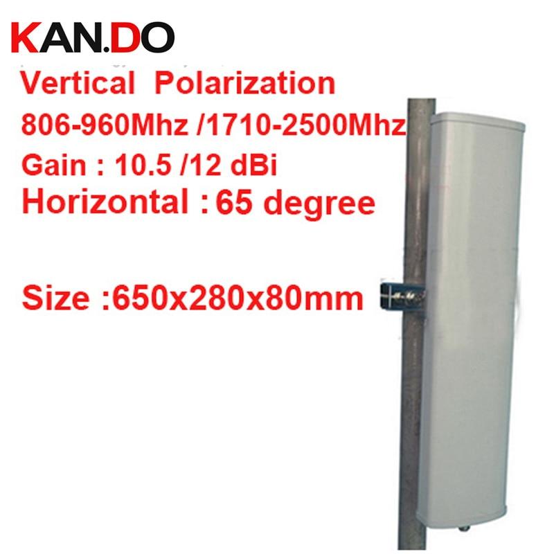 12dbi polarização vertical 65 graus 806-960 Mhz 1710-2500 mhz GSM antena da estação Base usa CDMA GSM 3G 4G LTE impulsionador da antena do telefone