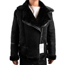 Automotive Designer Winter Mens Shearling Fur Jacket Velvet Warm Imported Leather Overcoats For Man