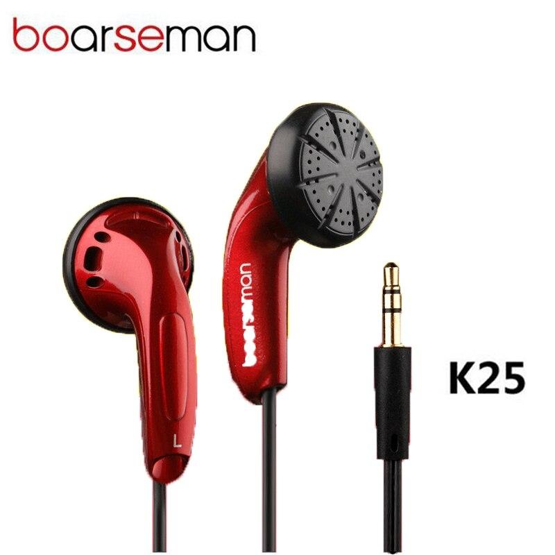Auriculares internos Boarseman K25, auriculares de música Hifi, auriculares con cancelación de ruido de cabeza plana, estéreo de bajos de 3,5mm para auriculares de teléfono