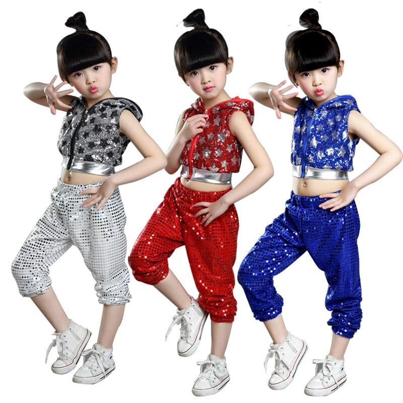 2019 New Fashion Street Dance Girls Sequins Jazz Dance Costumes For Girls Kids Hip Hop Dancing Performance Hip Hop Costumes XXl
