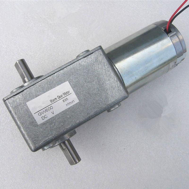 DC12V 24V GW600 motor de doble eje, motor de tornillo sin fin de CC cepillado, velocidad ajustable baja velocidad reducción de engranajes en miniatura DC motor, J18191