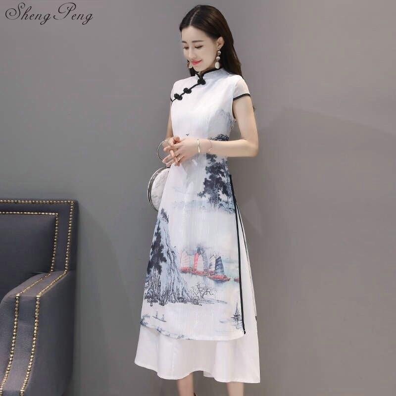 2018 nuevo vestido cheongsam de manga corta con encaje qipao chino para mujeres Q203