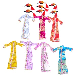 Dress Clothes For Doll Chinese Traditional Dress Cheongsam+Flag Head Headware Evening Dress Handmade Doll Accessories 1PCS