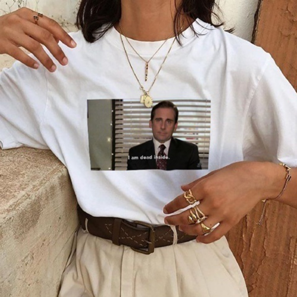 Unisex Tumblr Grunge Fashion White TeeThe Office Michael Scott I Am Dead Inside Quotes Funny T-Shirt
